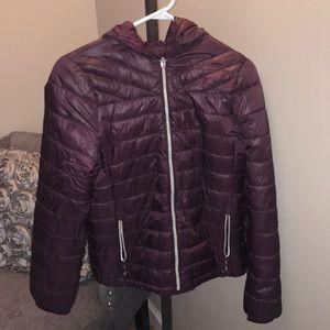 Burgundy light puffer jacket. Size 2